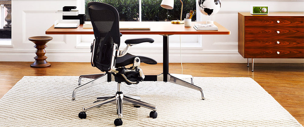 Black office chair in home office